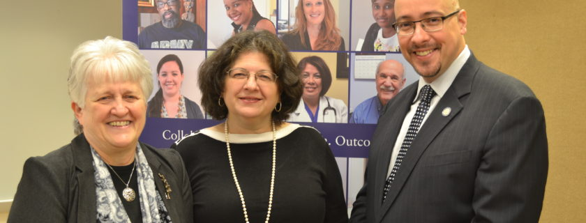 Ann Sullivan, MD, Commissioner of the NYS Office of Mental Health (left), and State Senator Gustavo Rivera (right) joined Irene Kaufmann, BPHC Executive Director (center), at the launch of BPHC's Behavioral Health DSRIP project.