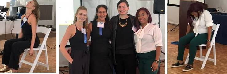 S:US' Trauma-Informed Yoga pilot was a featured topic at the New York Association of Psychiatric Rehabilitation Services' Annual Conference this month.  Presenters pictured in center photo: Zoe LePage, Exhale to Inhale; Bronte Kastenberg, BPHC; Erin Palmer and Altrovise Walcott, Services for the UnderServed.